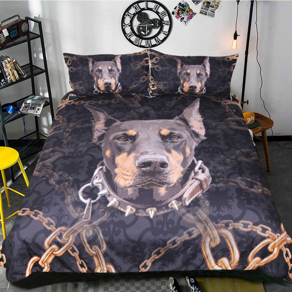 Doberman Bedding Duvet Cover Set Digital Print 3pcs - multicolor KING