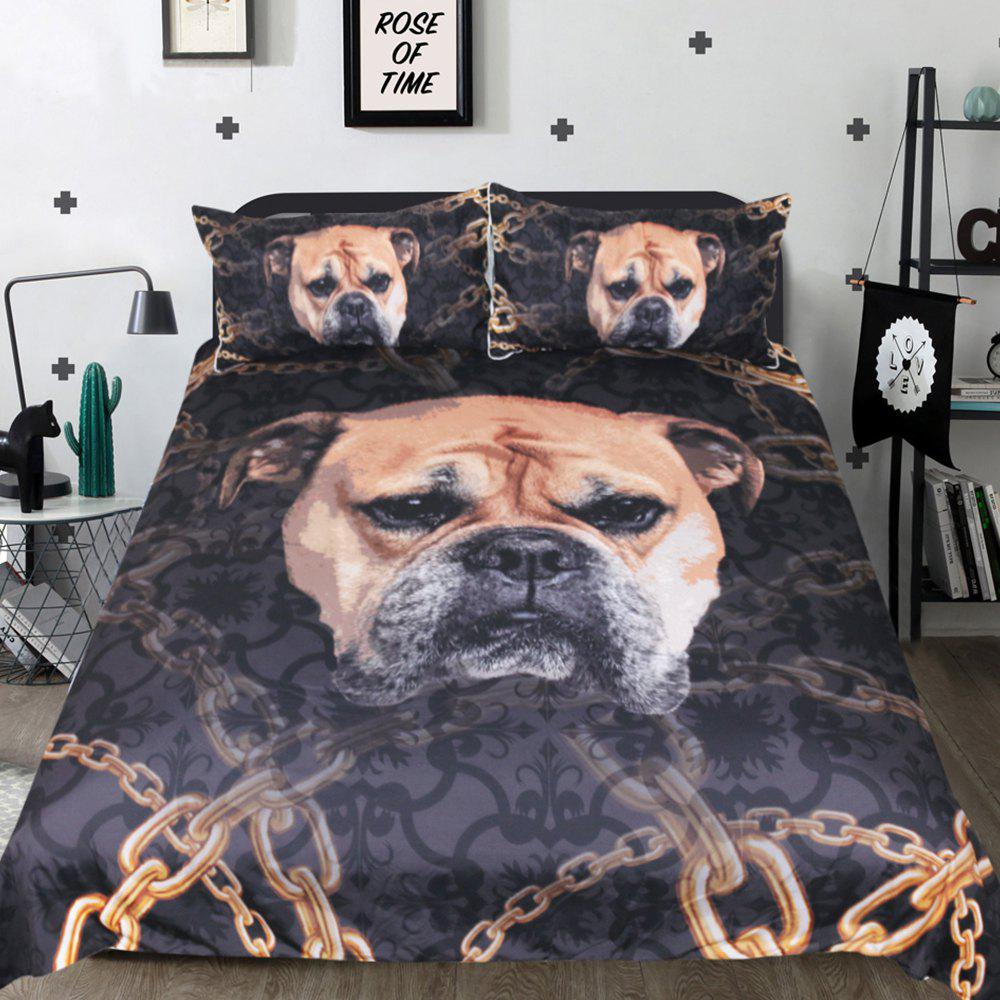 Bulldog Bedding Duvet Cover Set Digital Print 3pcs цена 2017