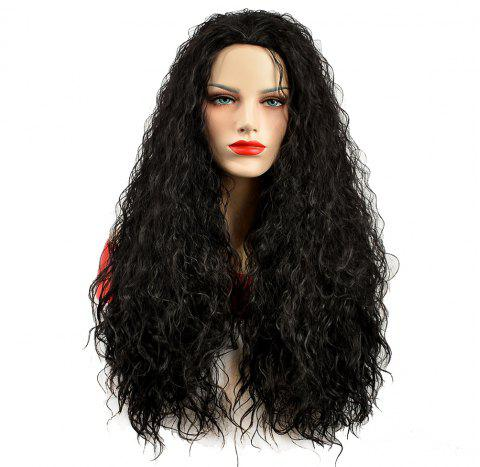 African American Women Black Fluffy Curly Long Synthetic Hair Party Wig - BLACK 22INCH