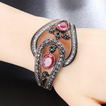 PULATU Semi-precious Stone Plated Ancient Gold Ethnic Bracelet - RED