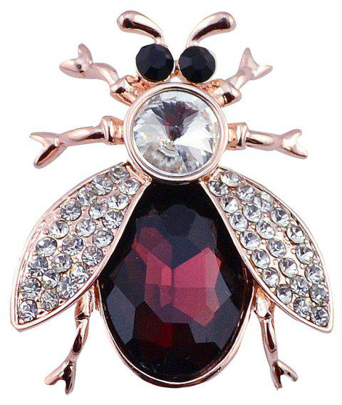 PULATU Crystal Insect Brooch - RED WINE