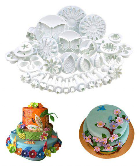 33pcs Pastry Cake Decorating Tools Fondant Sugarcraft Cutter Baking Cookies Mold - WHITE