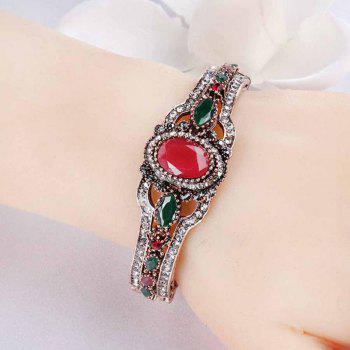 Indian Style Vintage Hollow Resin Open Bracelet - RED