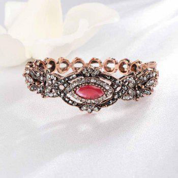 Vintage Geometric Hollow Stone Open Bracelet - RED