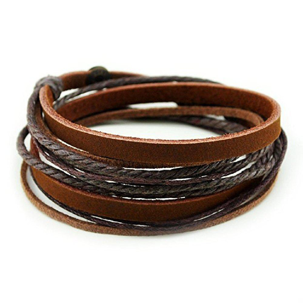 YEDUO Genuine Leather Cuff Wrap Bracelet - COFFEE