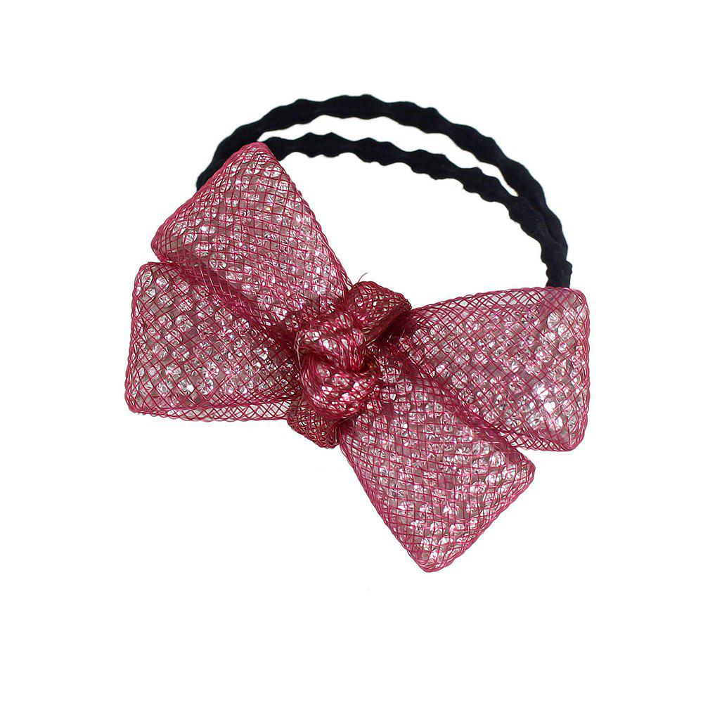 Multicolors Rhinestone Bow Elastic Hairband - RED