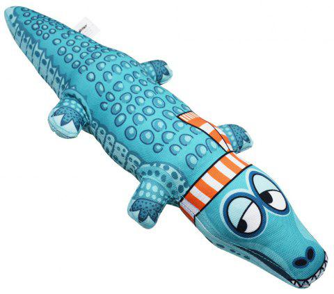 Cartoon Crocodile Shape Canvas Dog Toy Puppy Sound Chew - multicolor A