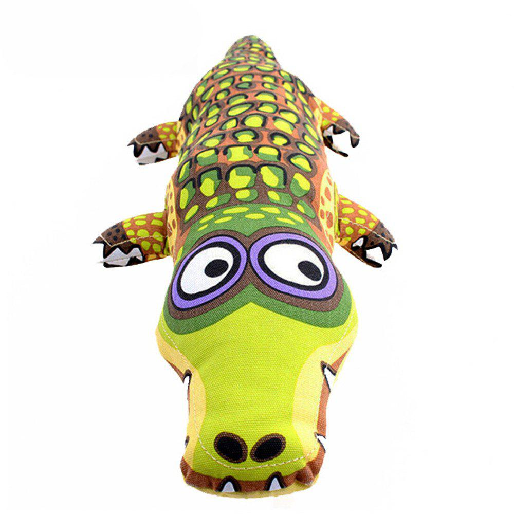 Cartoon Crocodile Shape Canvas Dog Toy Puppy Sound Chew - multicolor B