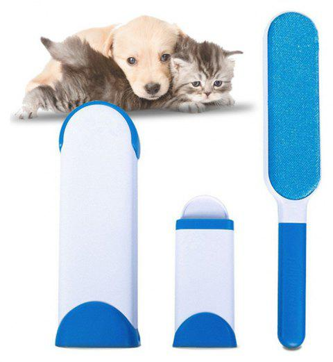 Pet Hair Remover with Self-Cleaning Base Double-Side Lint Brush for Dog Cat - SILK BLUE