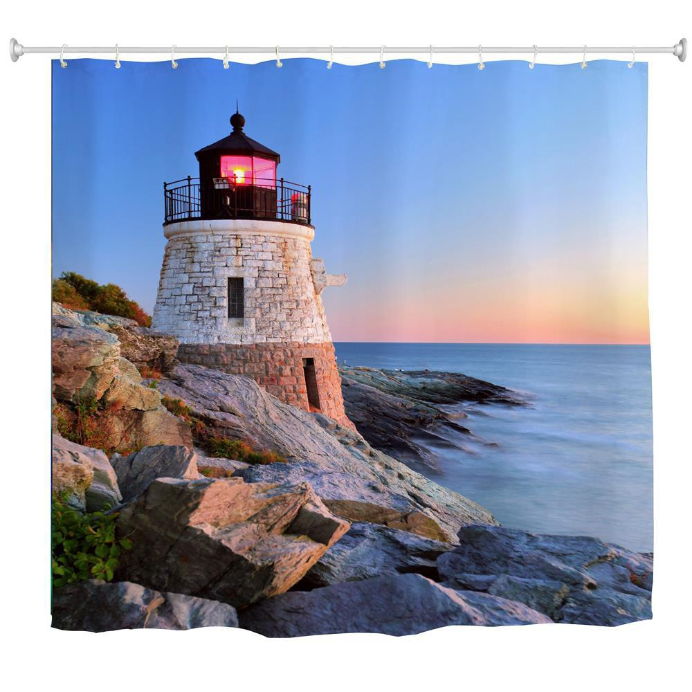 Sunset Lighthouse Water Proof Polyester Printing Bathroom Shower Curtain Multicolor A W71 Inch