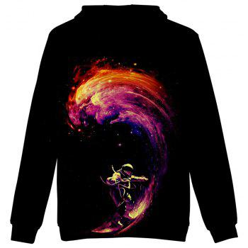 2018 New Space Surfing Printed 3D Hoodie - multicolor A XXS
