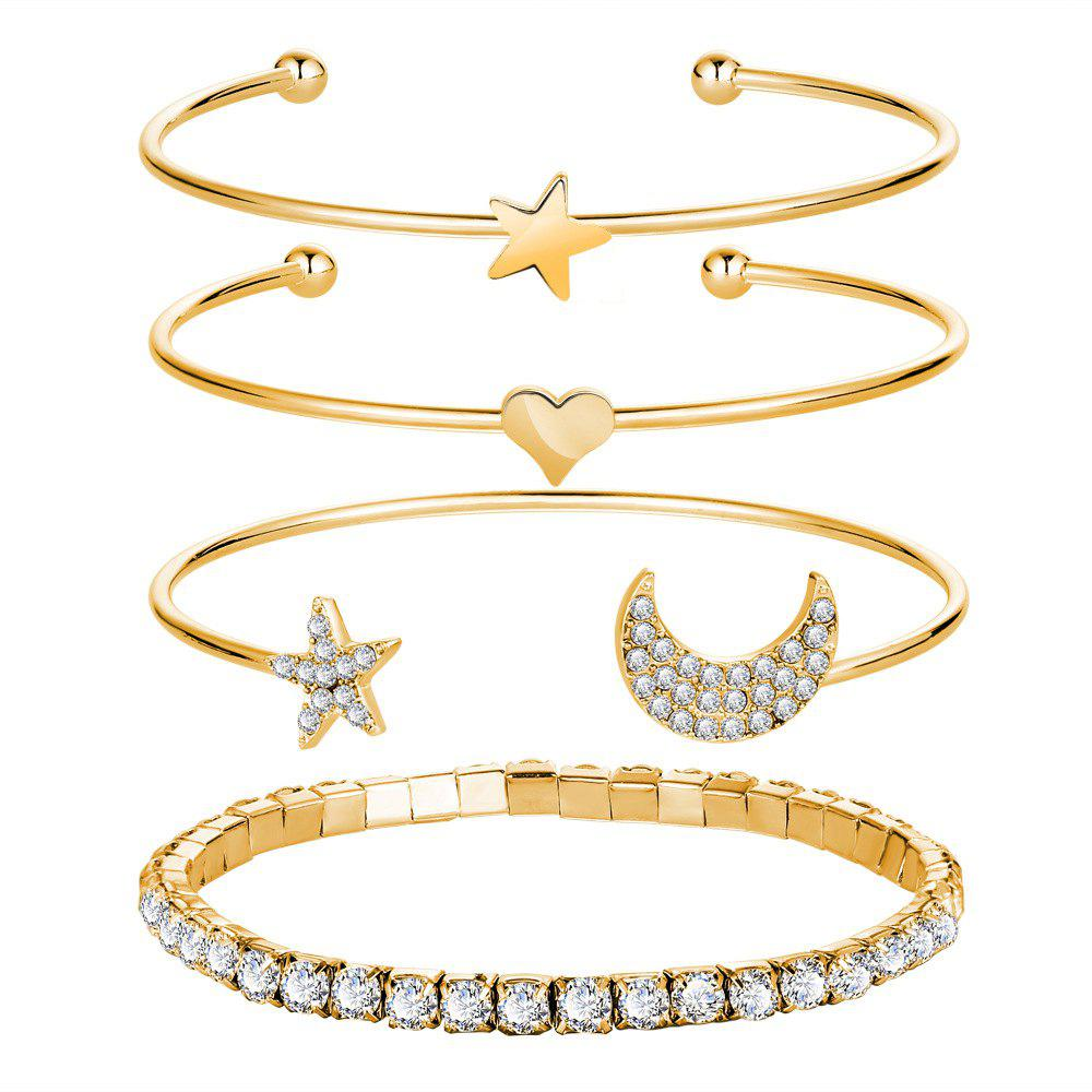 4PCS Simple Diamond Crystal Star Opening Bracelet - GOLD
