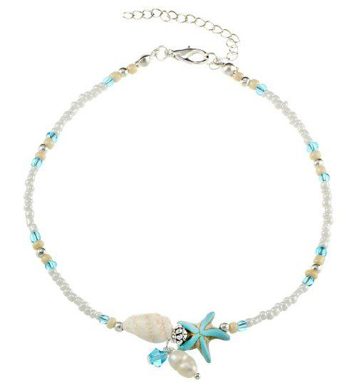 Conch Starfish Pendant Rice Bead Anklet - SILVER