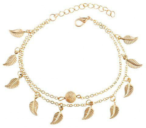 Beach Style Double Vintage Tassel Small Leaf Bracelet - GOLD