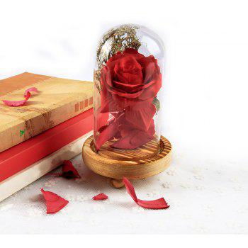 Glass Cover Mounted Wooden Base  Rose - FIRE ENGINE RED