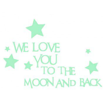 We Love You Noctilucent Engraving Wall Sticker - MINT GREEN