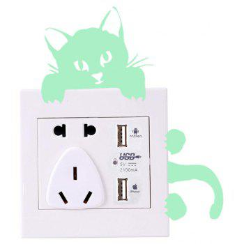 Noctilucent Engraving Cute Cat Sticker - MINT GREEN