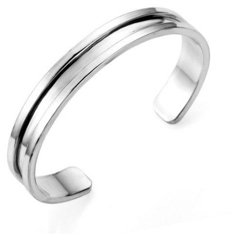 A Couple Alloy Open Bracelet - SILVER