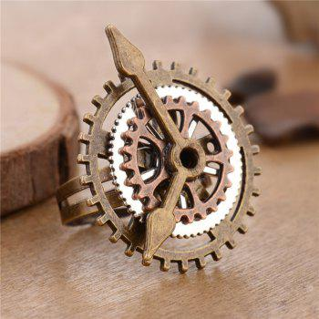 New Exaggerated Personality Steampunk Clock Gear Ring Jewelry - multicolor RESIZABLE