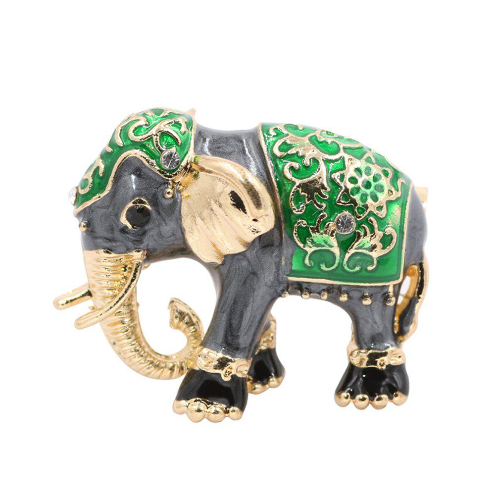 PULATU Enameled Elephant Brooch for women - GREEN