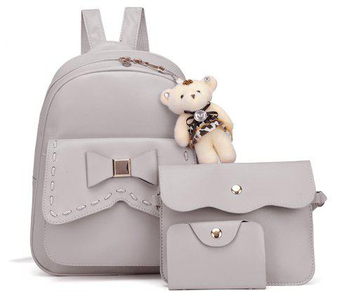 Girl PU 3Pcs Bowknot Backpack - GRAY VERTICAL