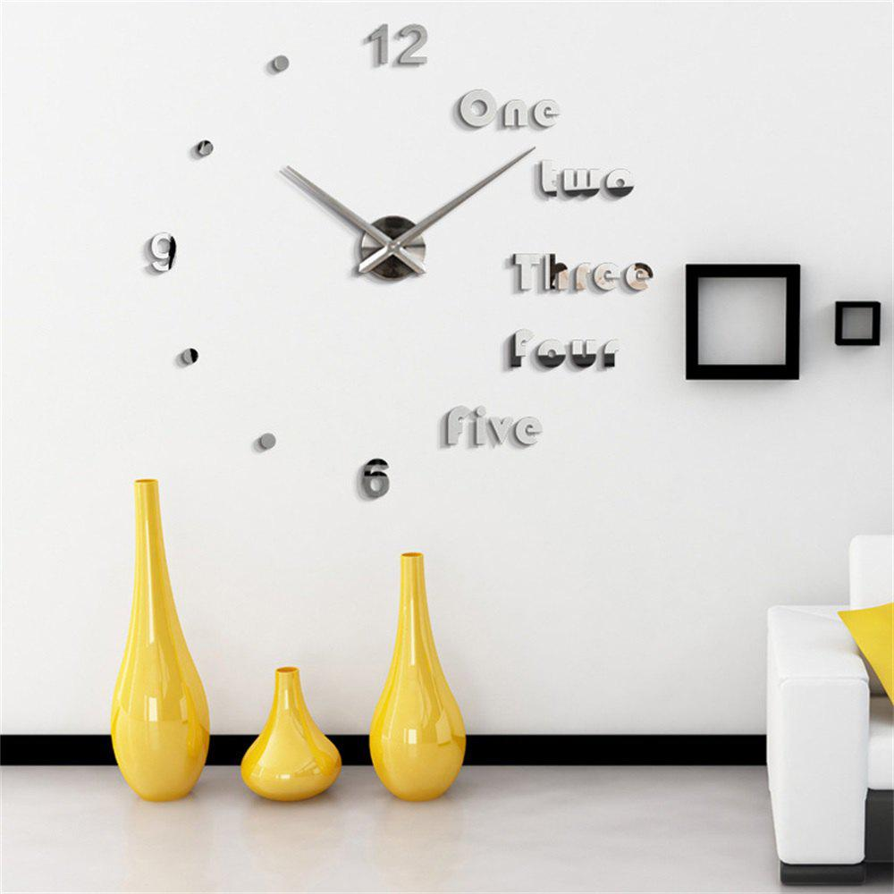 3D EVA European Minimalist Living Room Wall Stickers Large Mirror Wall Clock - SILVER