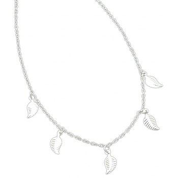 Gold Silver Color Chain With Leaf Necklace - SILVER