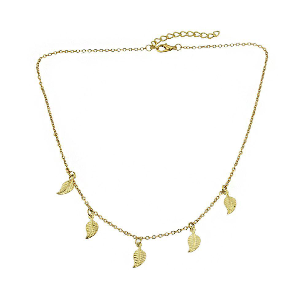 Gold Silver Color Chain With Leaf Necklace - GOLD