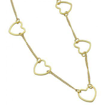 Gold-color Silver Color Long Chain with Heart Pattern Necklace - GOLD