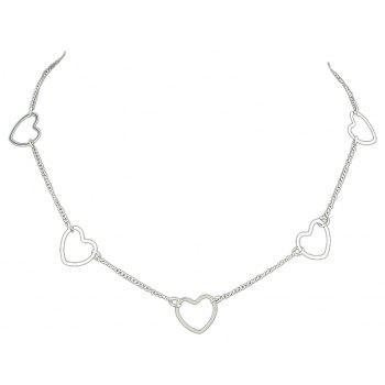 Gold-color Silver Color Long Chain with Heart Pattern Necklace - SILVER