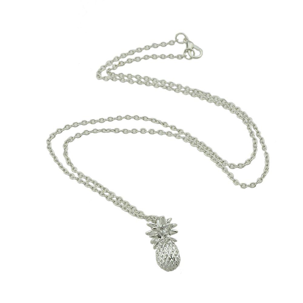 Long Chain Collar Pineapple Pattern Pendants Necklace - SILVER