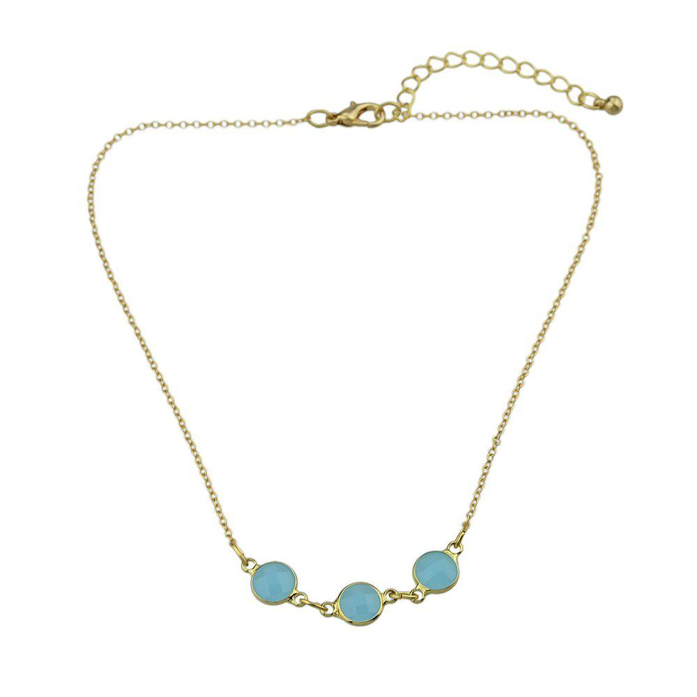 Blue Beads Geometric Choker Necklace - BLUE