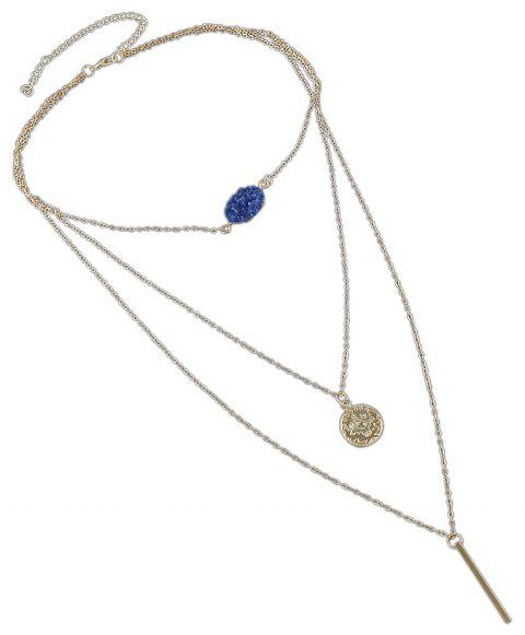 Boho Gold-color Chain with Blue Black Red Stone Round Charms Necklace - BLUE