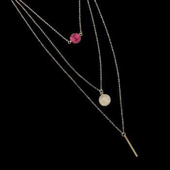 Boho Gold-color Chain with Blue Black Red Stone Round Charms Necklace - RED