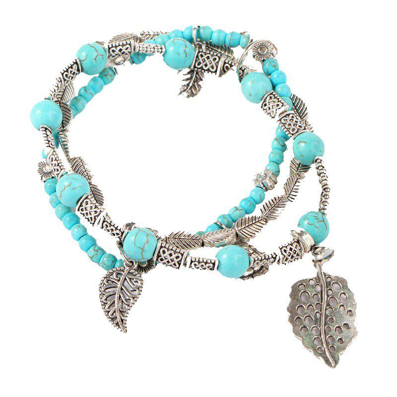 Fashion Hand-Made Beads Leaves Stone Bracelets - AQUAMARINE