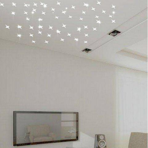 50 PCS Creative Star Wall Sticker Plafond Salon Gypsophila Décoration - Argent