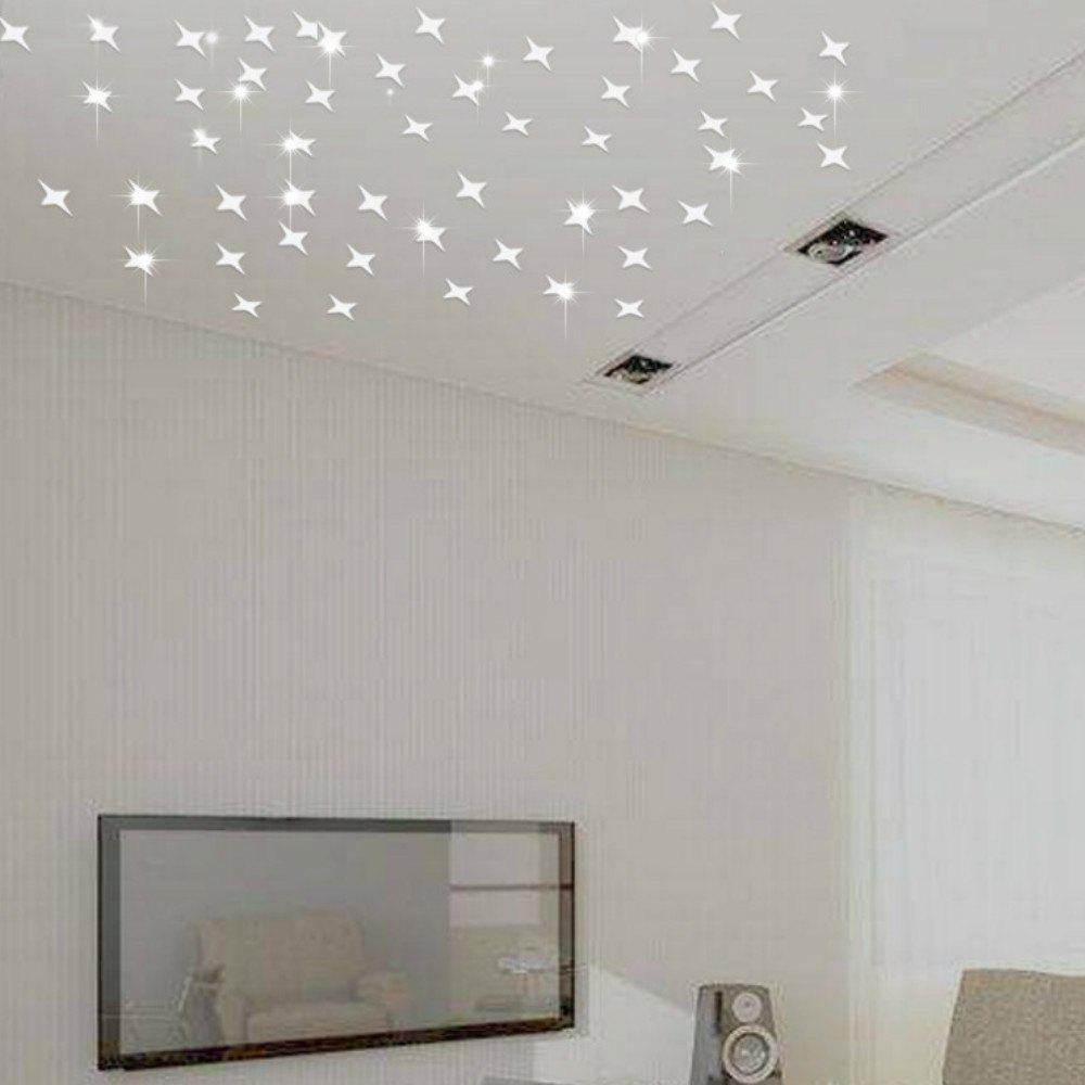 50 PCS Creative Star Wall Sticker Ceiling Living Room Gypsophila Decoration rectangle acrylic led ceiling lights for living room bedroom modern led lamparas de techo new white ceiling lamp fixtures