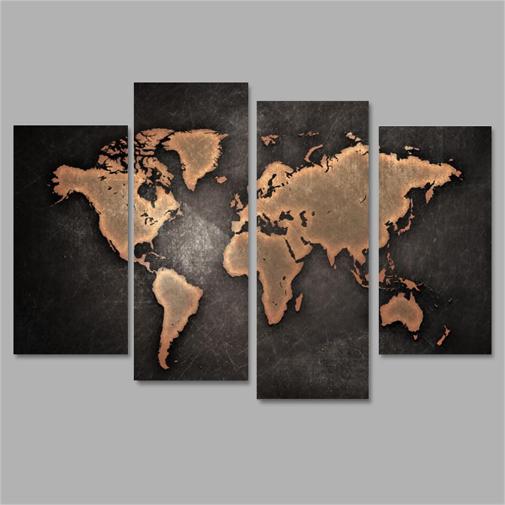 World Map Frameless Printed Canvas Wall Art Paintings 4PCS sunset frameless printed canvas wall art paintings 4pcs