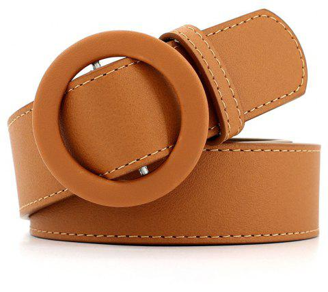 Simple Fashion Round Buckle Casual Belt - CARAMEL