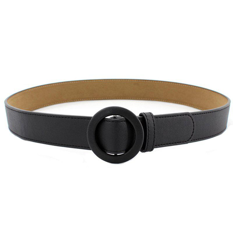 Simple Fashion Round Buckle Casual Belt - BLACK