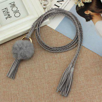 Vintage  Folk Style Fringe  Woven Thin Belt - GRAY CLOUD