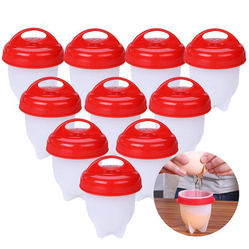 10 Pcs High Quality Egg Cooker Hard and Soft Maker Non Stick Silicone Cups - SCARLET