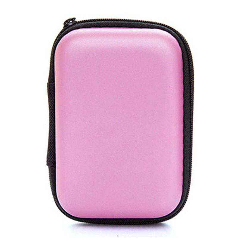 Headset Bluetooth Data Line Portable Storage Bag SD Card Protective Box - PIG PINK