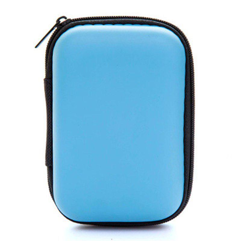 Headset Bluetooth Data Line Portable Storage Bag SD Card Protective Box - SKY BLUE