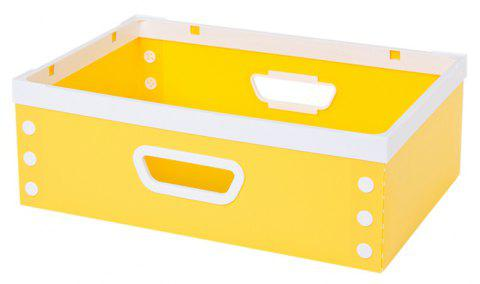 DIY Can Overlay Cartoon Plastic Coverless Desktop Storage Consolidation Box - YELLOW SIZE L