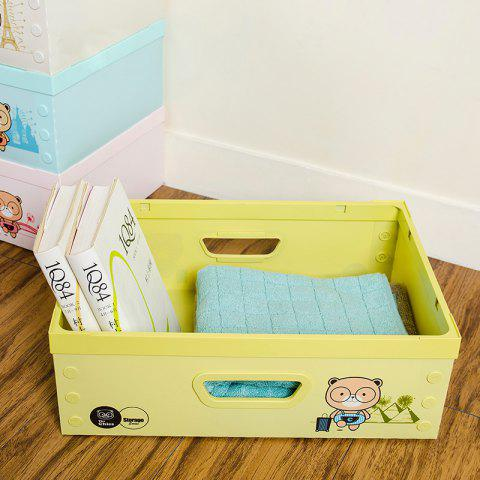 DIY Can Overlay Cartoon Plastic Coverless Desktop Storage Consolidation Box - YELLOW GREEN SIZE L