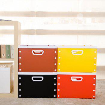 DIY Can Overlay Cartoon Plastic Coverless Desktop Storage Consolidation Box - YELLOW SIZE S