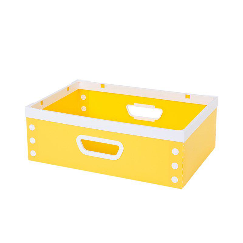 DIY Can Overlay Cartoon Plastic Coverless Desktop Storage Consolidation Box - YELLOW SIZE M