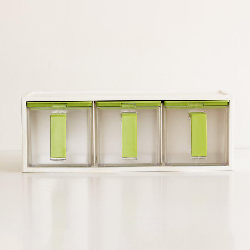 Kitchen Condiment Storage Box Three Combined Oil Salt Seasoning Pot - LAWN GREEN 36X16X11CM