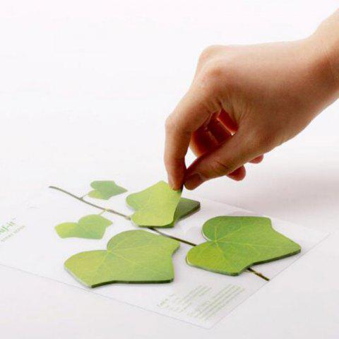 Lifelike Sticker Green Maple Leaves Creative Class Notes Message Post - GREEN